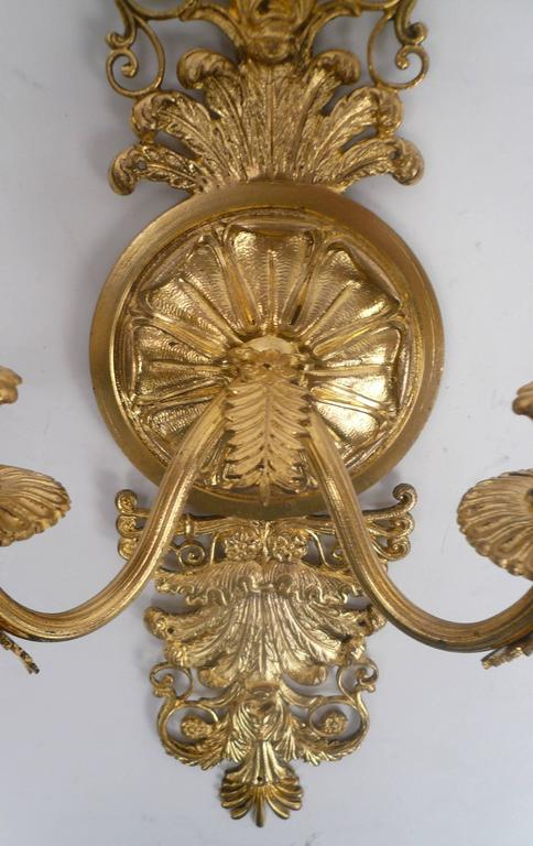 Pair of French Empire Style Gilt Bronze Two-Light Sconces