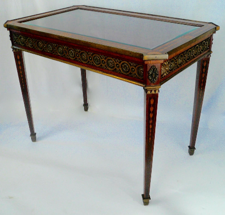 Bronze-Mounted and Marquetry Adam Style Vitrine Table