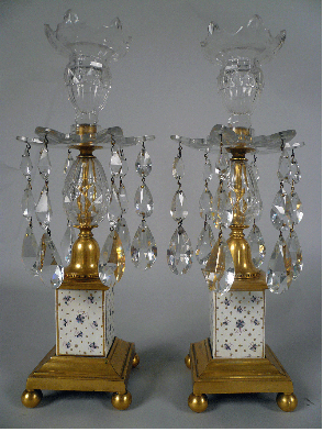 Pair George III Gilt Bronze, Porcelain, and Crystal Candlesticks