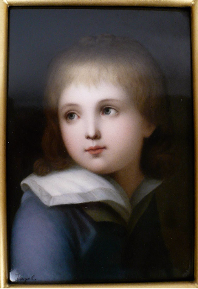 KPM Porcelain Portrait of a Boy, Signed Vogel