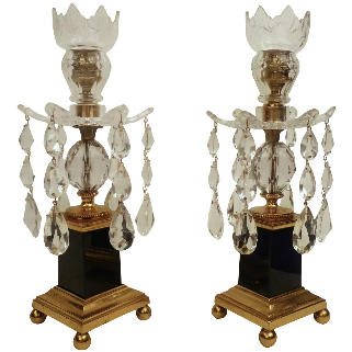 Pair George III Style Gilt Bronze, Cobalt Blue Glass, and Crystal Candlesticks