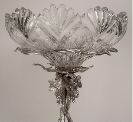 Elkington Silver Plate and Cut Crystal Epergne