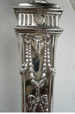 Pair of English Sterling Silver Georgian Style Candlesticks