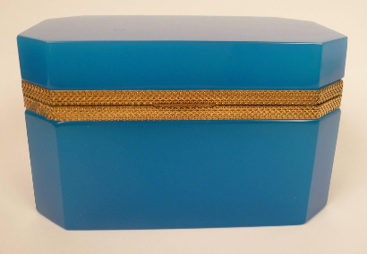Large French Blue Opaline Glass Box