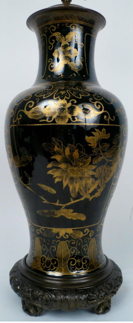 Chinese Gilt Chinoiserie Decorated, Black Glazed Porcelain Vase, Electrified
