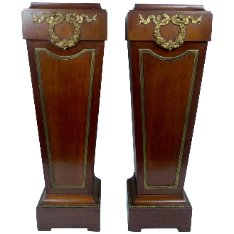 Pair of Louis XVI Style Bronze-Mounted Mahogany Pedestals