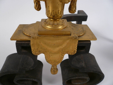 Pair Neoclassical Gilt Bronze and Wrought Iron Andirons