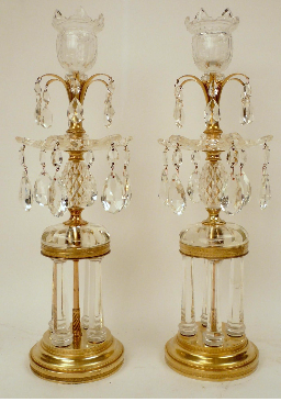 Pair of Bronze and Crystal Temple Form Candlesticks Attributed to Parker & Perry