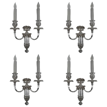Four E. F. Caldwelll Silver Plated Bronze Sconces