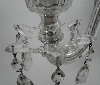 Pair of Georgian Style Two Light Cut Crystal Sconces, with Silvered and Bronze Fittings
