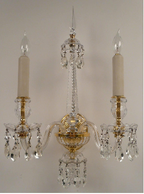 Set of Four Gilt Bronze and Crystal Georgian Style Sconces by E. F. Caldwell