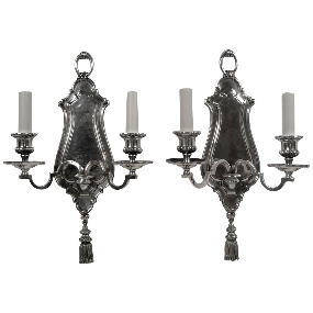 Pair of Early Georgian Style Two Light Sconces by E. F. Caldwell