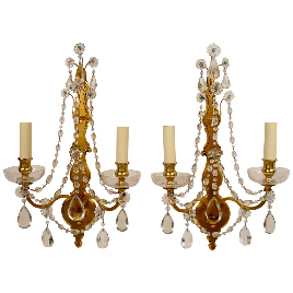 Pair of Gilt Bronze and Crystal Two Light Sconces by Sterling Bronze Co. N. Y