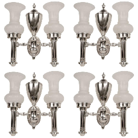 Set of Four Argand Style Two Light Sconces