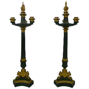 Pair of French Empire Bronze Candelabra
