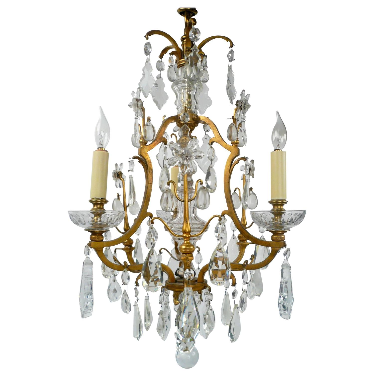 Gilt Bronze & Cut Crystal Louis XVI Style Three-Light Chandelier