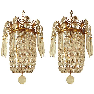 Pair of Small Gilt Bronze & Crystal Pendant Chandelier