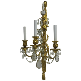 Four E. F. Caldwell Gilt Bronze & Crystal Three Light Sconces