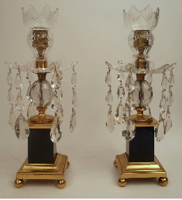Pair George III Style Gilt Bronze, Cobalt Blue Glass, & Crystal Candlesticks