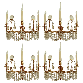 Four Austrian Mid-Century Modern Gilt Bronze & Crystal Sconces