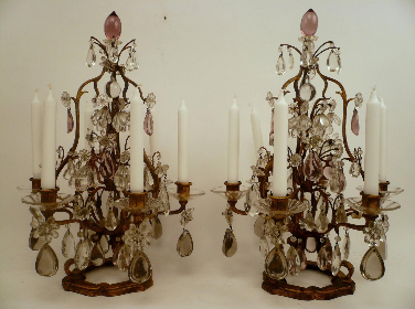 Pair Louis Style Gilt Iron & Cut Crystal Candelabra