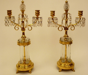 Pair of Gilt Bronze & Cut Crystal Candelabra, Attributed to William Parker