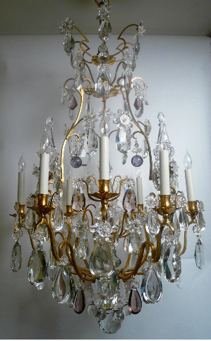 Gilt Bronze & Crystal Louis XVI Style Chandelier