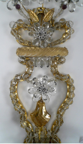 Pair of Early 20th Century French Bronze & Crystal Sconces by Bagues