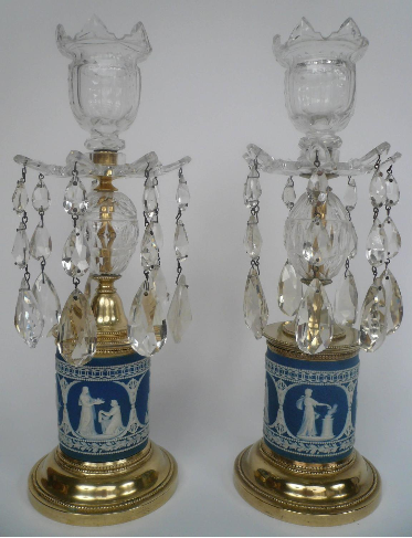 Pair of 19th Century George III Style Jasperware Candlesticks