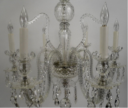 Georgian Style Six-Light Crystal Chandelier