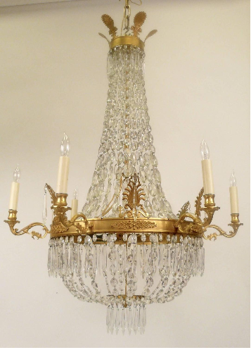 Gilt Bronze & Crystal Empire Style Chandelier