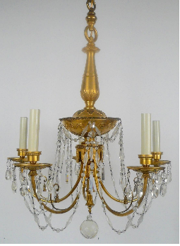 Gilt Bronze & Cut Crystal Chandelier by E. F. Caldwell