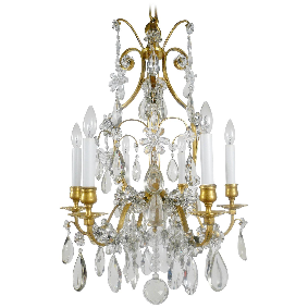 Louis XVI Style Gilt Bronze & Crystal Six-Light Chandelier