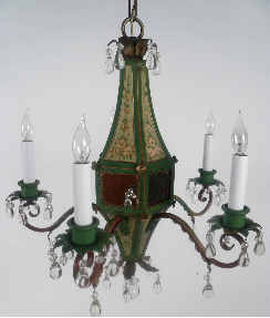 Five-Light Tole Peinte & Crystal Chandelier