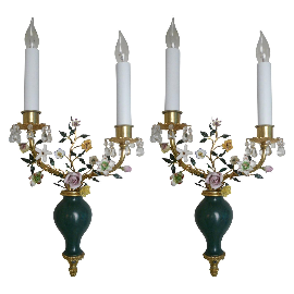 Pair Louis XVI Style Bronze & Porcelain Sconces