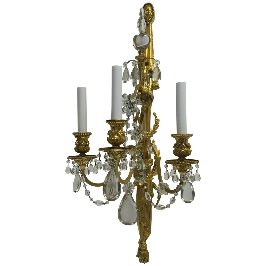 Four E. F. Caldwell Gilt Bronze & Crystal Three-Light Sconces