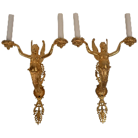 Pair of 19th Century Gilt Bronze Empire Style Sconces