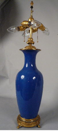 Blue Porcelain & Ormolu Table Lamp by E. F. Caldwell