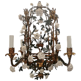 Early 20th Century French Gilt Wrought Iron Chandelier