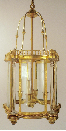 Edward F. Caldwell Gilt Bronze and Cut Crystal Lantern
