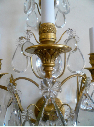 Large Pair of Three-Arm Gilt Bronze & Crystal Sconces