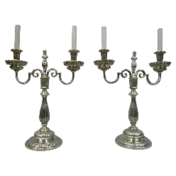 Pair of Silver Plated George III Style Candelabra Form Lamps