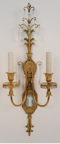 Pair of Adam Style Gilt Bronze Sconces with Enamel Plaques, by E. F. Caldwell