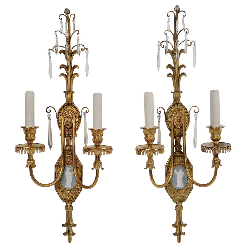 Pair of Adam Style Gilt Brone Sconces w/ Enamel Plaques, by E. F. Caldwell