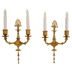 Pair of Adam Style Two-Light Gilt Bronze Sconces by E. F. Caldwell