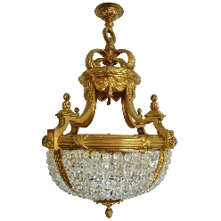 Gilt Bronze & Crystal Bead Eight-Light Chandelier by E. F. Caldwell