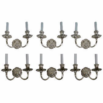 Six E.F. Caldwell Silver Two-Light Sconces