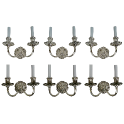 Six E. F. Caldwell Silver Two-Light Sconces