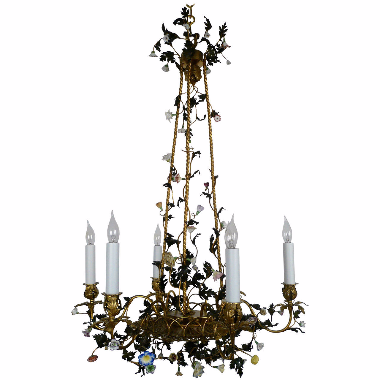 French Gilt Bronze & Porcelain Six-Light Chandelier