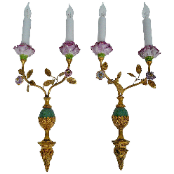 Pair of Edward F. Caldwell Bronze & Porcelain Sconces